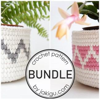 Crochet Pattern Bundle by jakigu.com | chevron crochet baskets