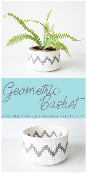 Grey Chevron Crochet Basket - geometric crochet pattern by jakigu.com