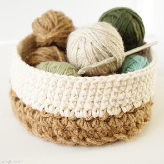 Jute and cotton crochet basket by jakigu.com