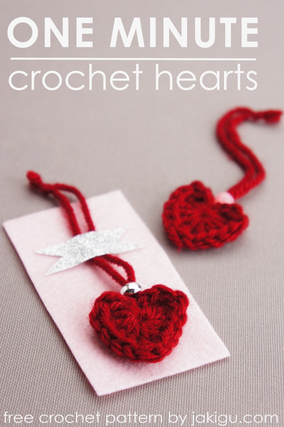 One minute crochet heart pattern | jakigu.com
