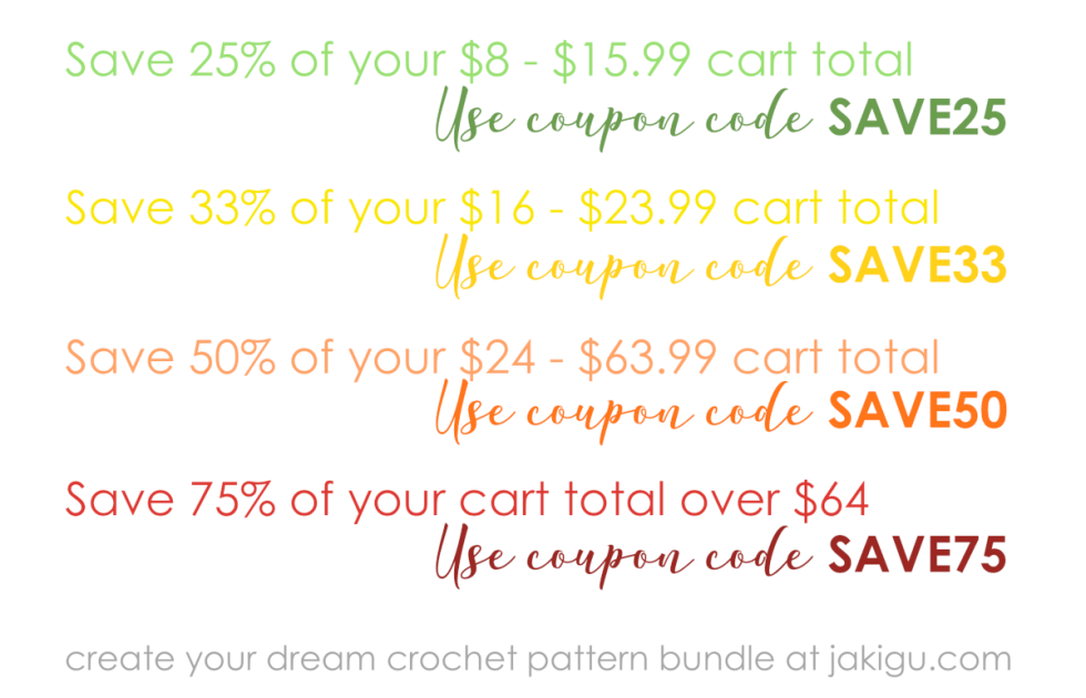 Save with the Ultimate Savings Bundle | jakigu.com crochet pattern coupon codes