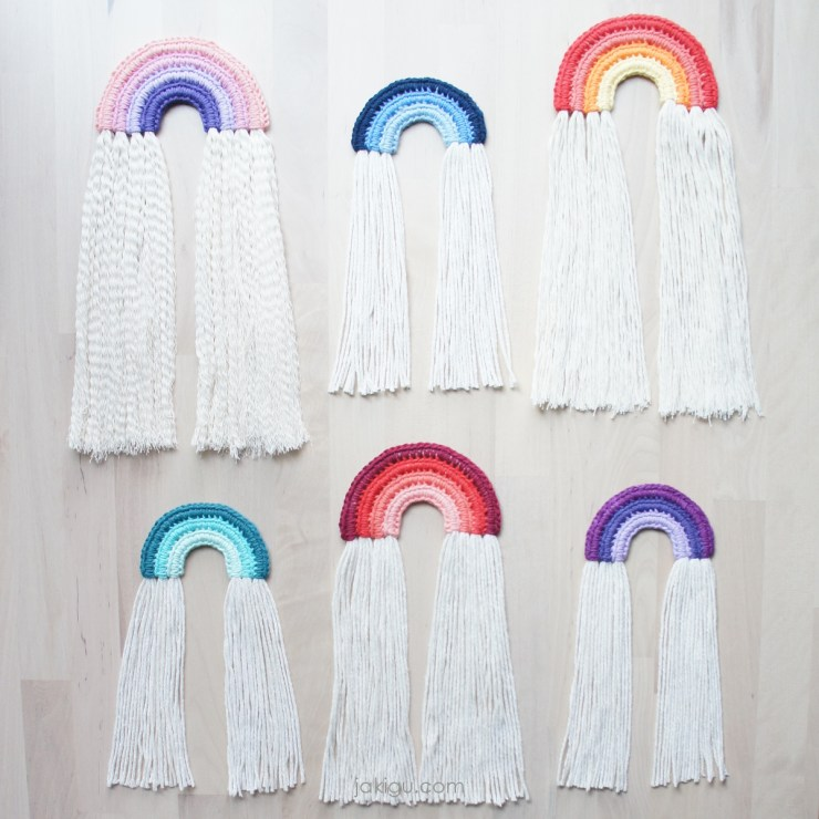 jakigu.com | crochet rainbow wall hanging collection