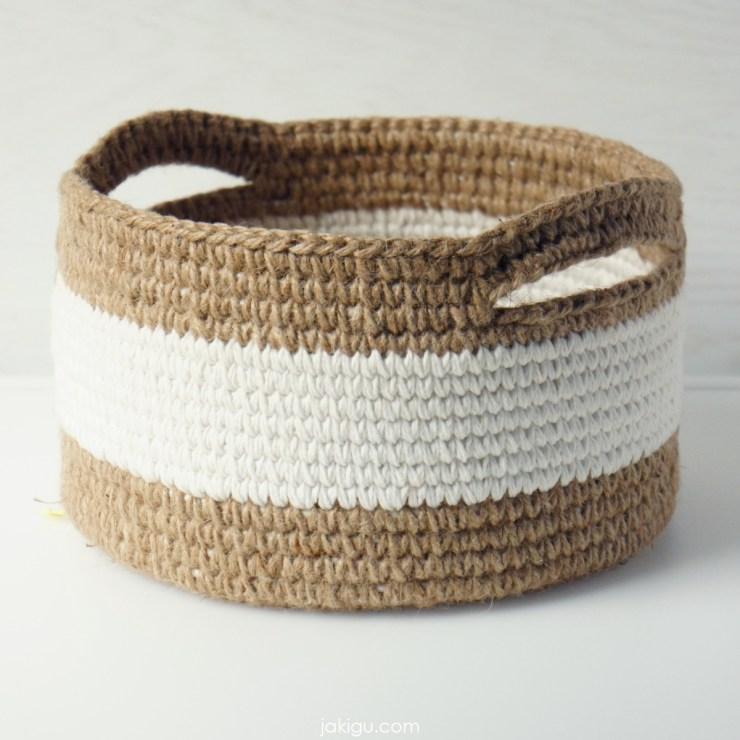 jakigu.com | jute and cotton crochet basket with handles