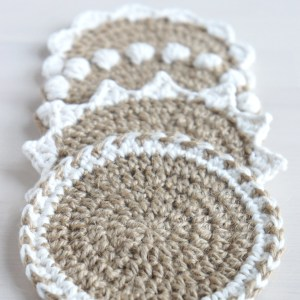 Jute and Cotton Coasters | | jakigu.com crochet pattern