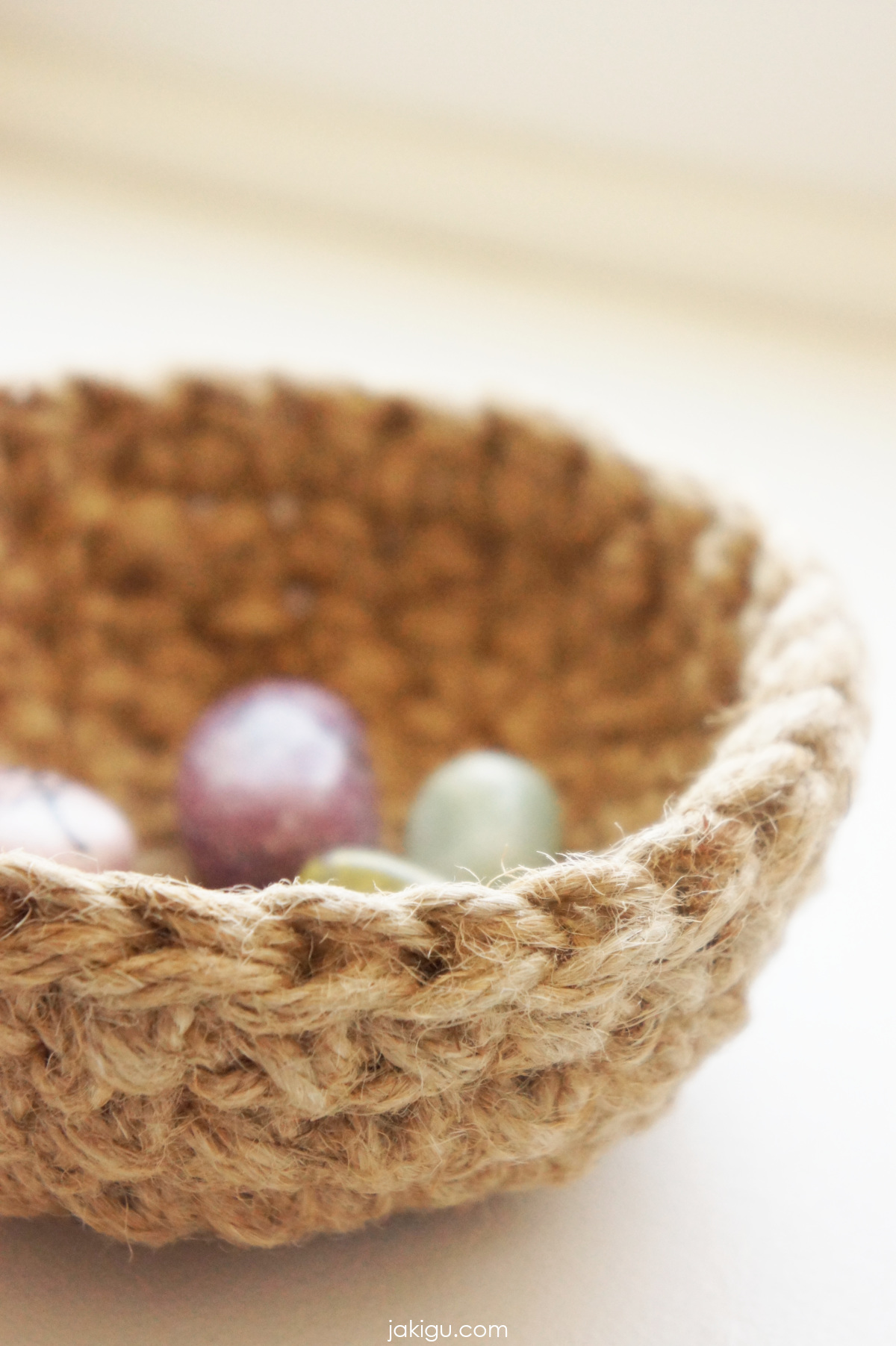jute crochet bowl with gemstones