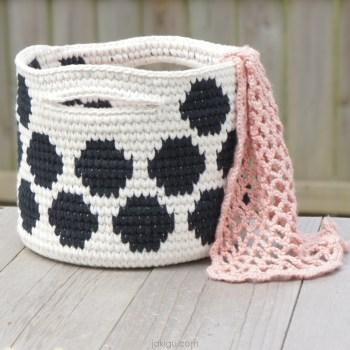 polka dot basket by jakigu.com