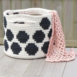 polka dot basket   jakigu.com crochet pattern