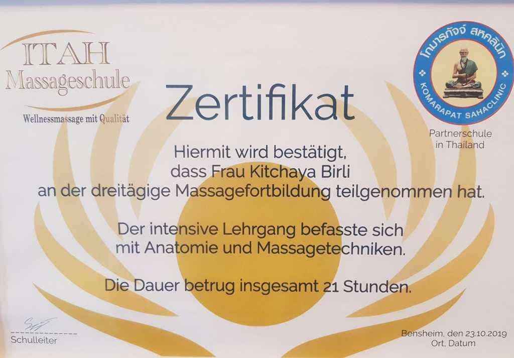 Zertifikat Massage und Anatomie