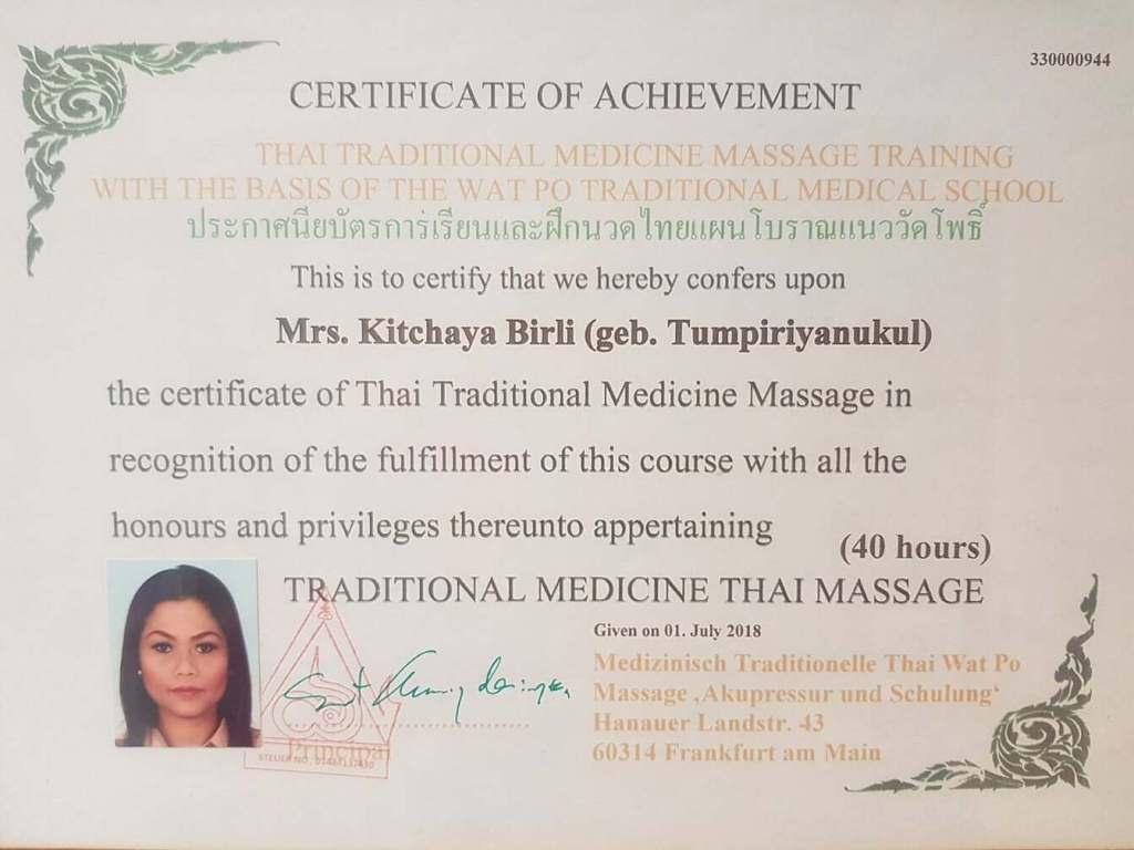 Zertifikat mediziniosche Traditionelle Thaimassage