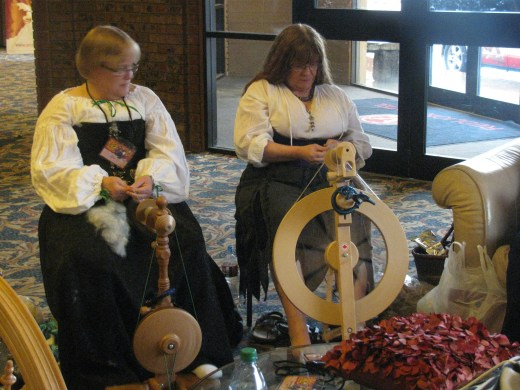 These women were spinning thread in the hotel lobby.