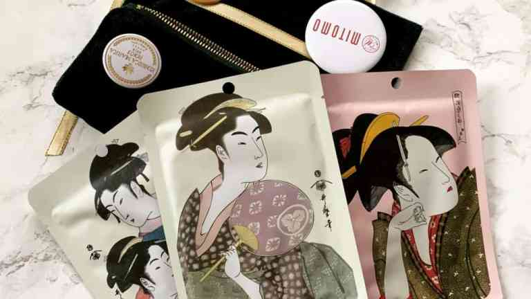Mitomo, trzy maski do twarzy z kolekcji Ukiyo-e