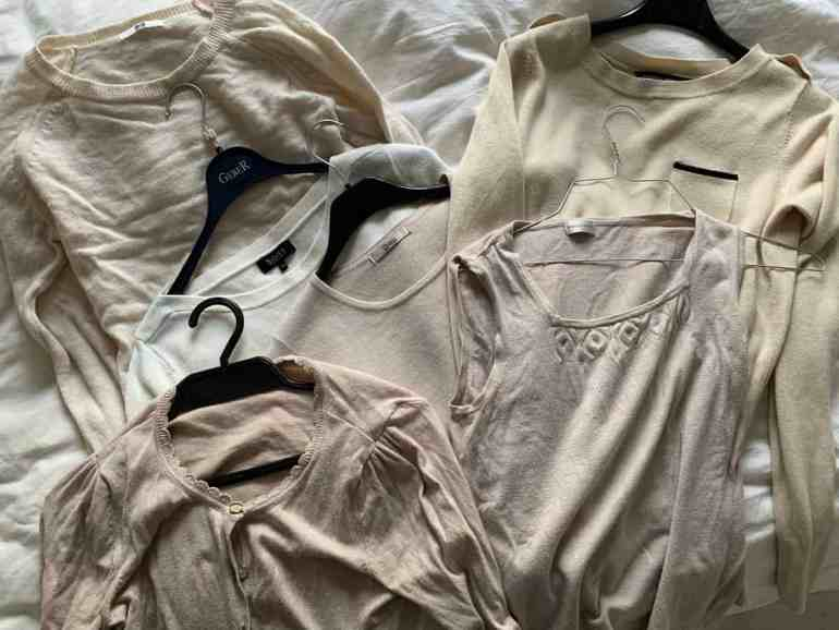 thrift shop purchases, tops and sweaters: