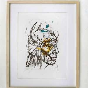 Kunsttryk af indianerhøvding