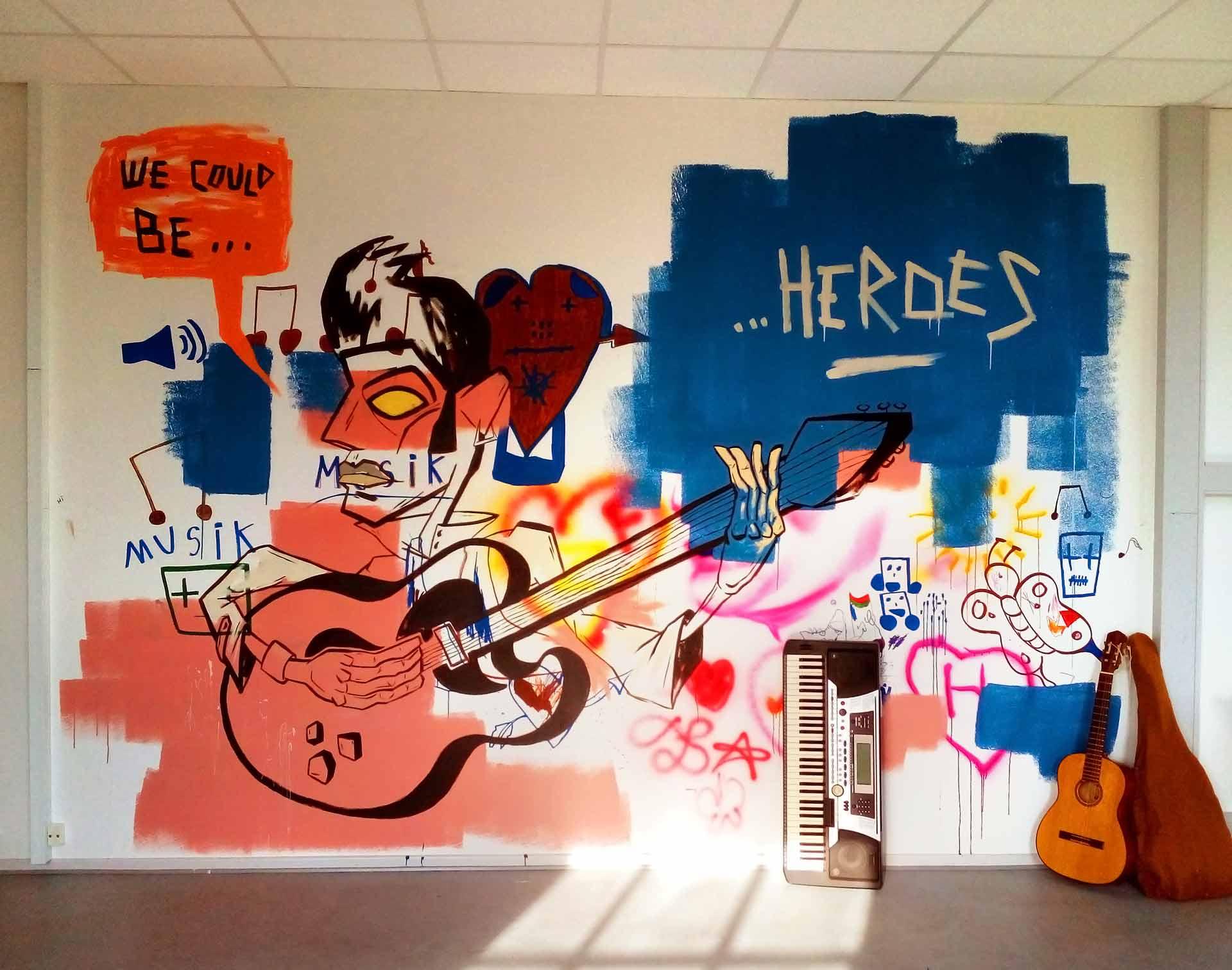Stort vægmaleri i musikrummet på Sjælsmark
