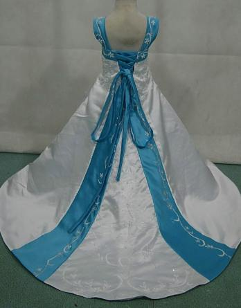 white and pool blue miniature wedding gown