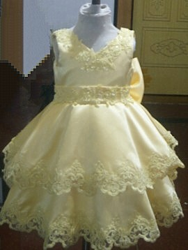 yellow lace infant flower girl dress