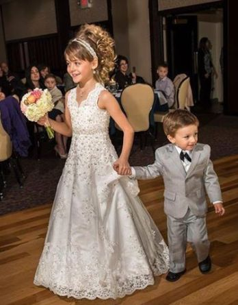 Lace open back flower girl dress made to match the brides Maggie Sottero Bridal Gown Bernadette / J1399HC