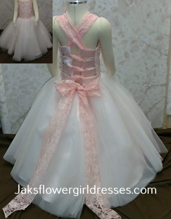 Coral lace crisscross strap flower girl dress.