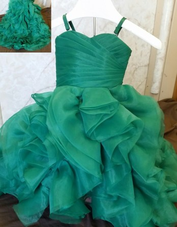 green ruffled flower girl dress with train