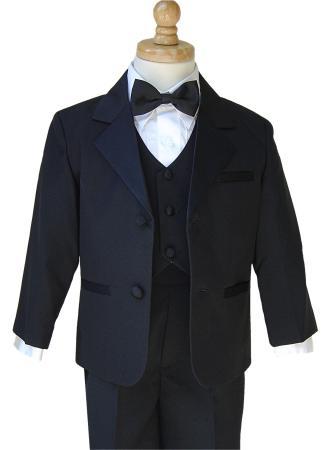 boys black tuxedo, jacket, pants, vest, shirt and bow tie