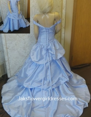 lavender flower girl dresses with tiered train