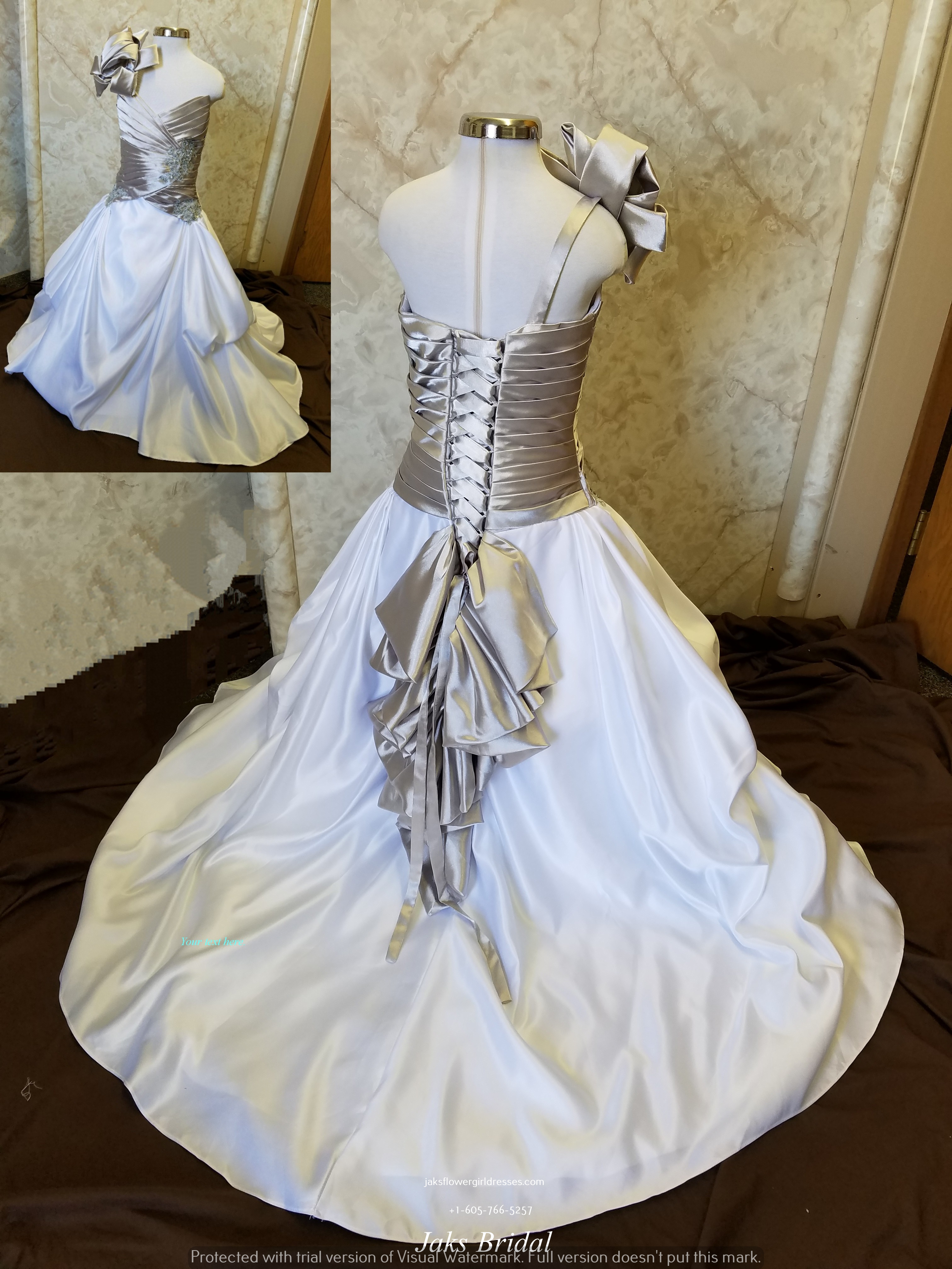 Silver and white flower girl dress and matching bridal dress mightylinksfo