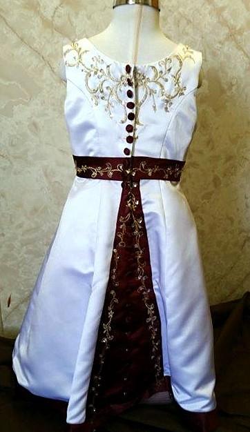 white and merlot flower girl dresses