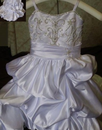 champagne toddler flower girl dress with train