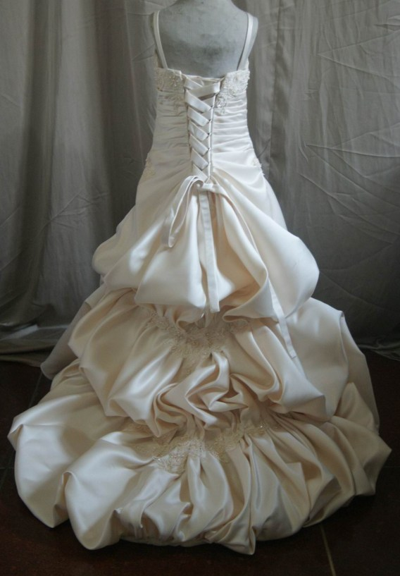 Miniature Bridal Wedding Gown with cascading bubble train