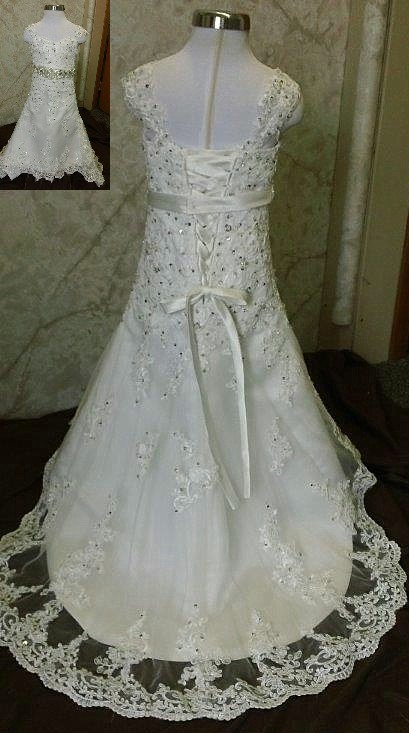 c25bff62360 One year olds flower girl dress. Lace baby girls wedding dress.