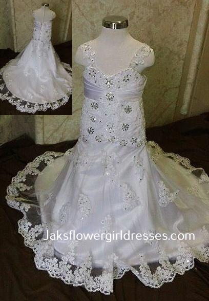 white lace flower girl dress