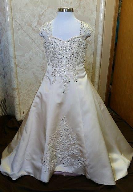 champagne flower girl wedding dress