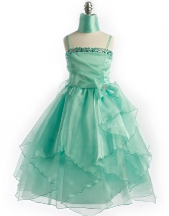 Mint green Easter dresses for girls with sequins.