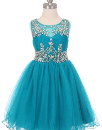 Sleeveless, illusion bodice, AB stone bodice & waist. Little girls short tulle party dresses with open back.