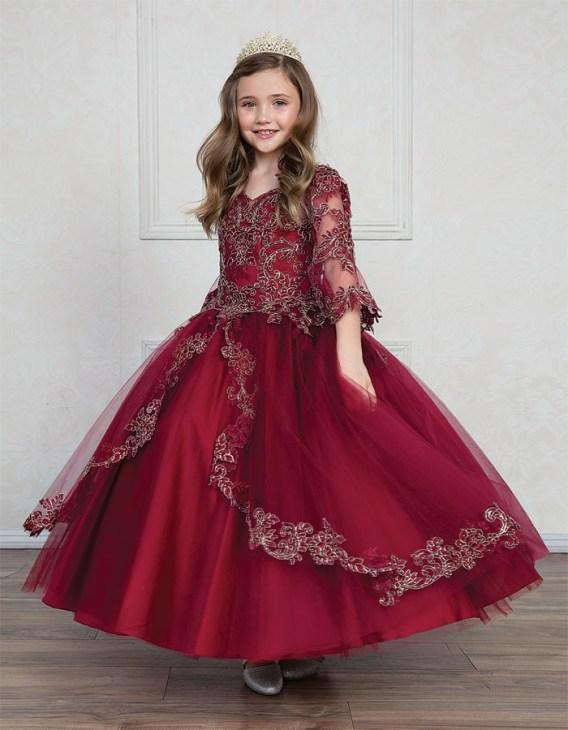 Burgundy Ball Gown Dress