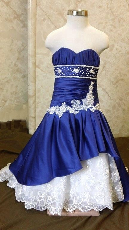 white flower girl dresses with blue color
