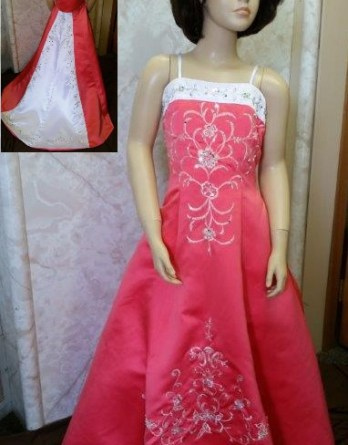 white and coral flower girl dress with train