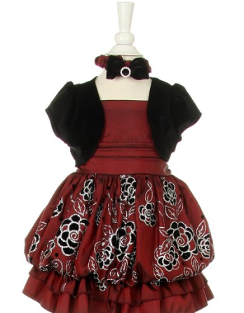 Burgundy and black infant Christmas Dress sale