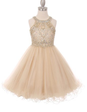 Champagne girls rhinestone dress with open back.