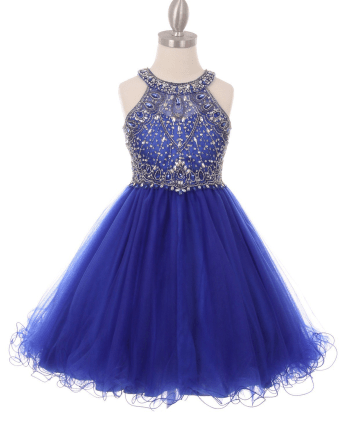 Dazzling halter neck rhinestone party tulle dress. Royal blue girls rhinestone dress with open back.