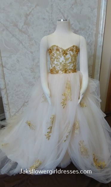 champagne and gold lace flower girl dress