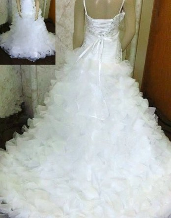 organza fit flare gown ruffle train