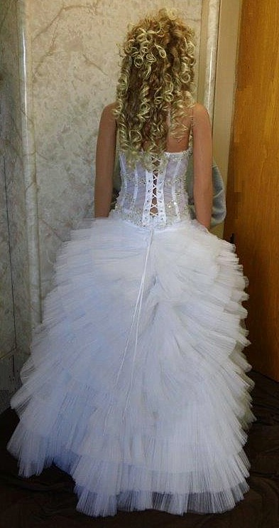 two piece wedding dress with layered skirt
