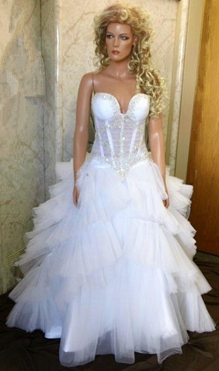 two piece wedding dress with layered skirt.