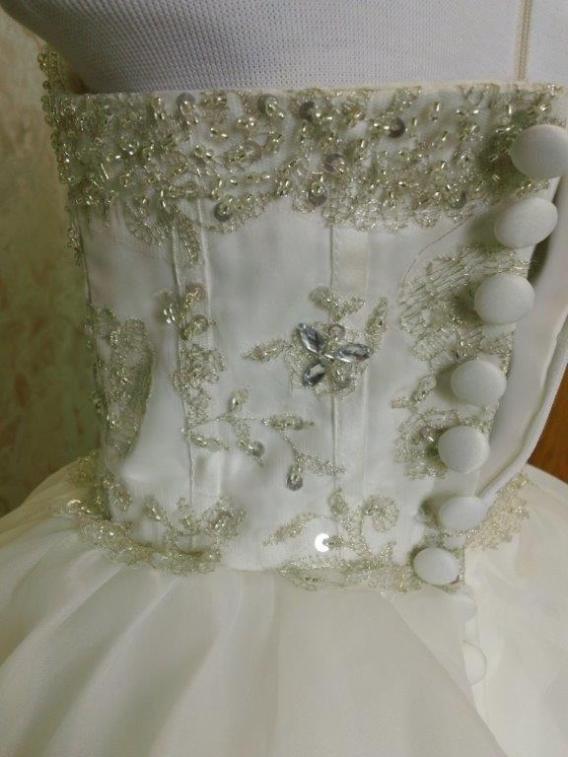 jeweled bodice dress with layered skirt