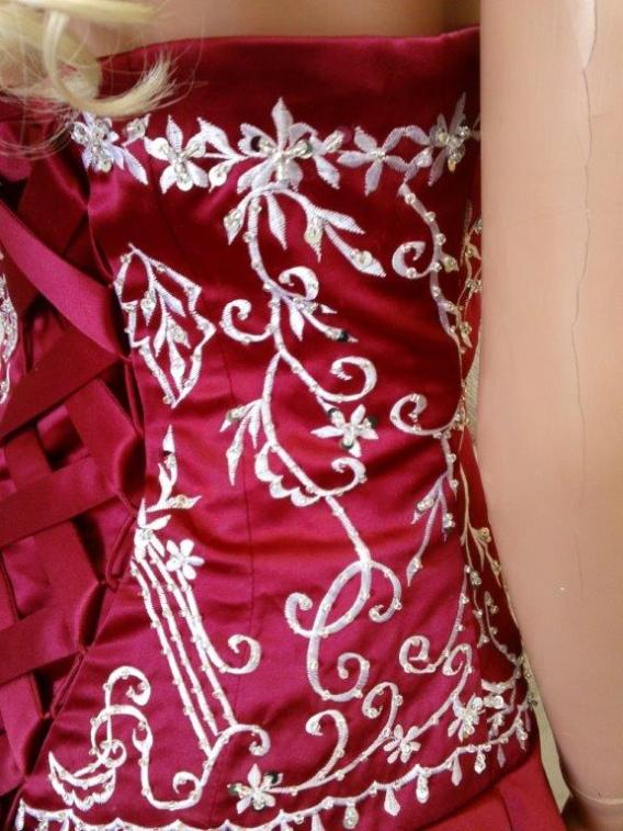 apple red and white colorful wedding dress