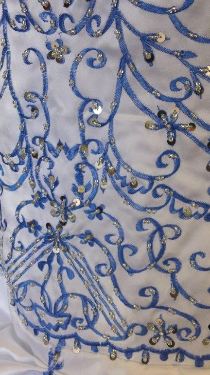 bright blue and white colorful wedding dress
