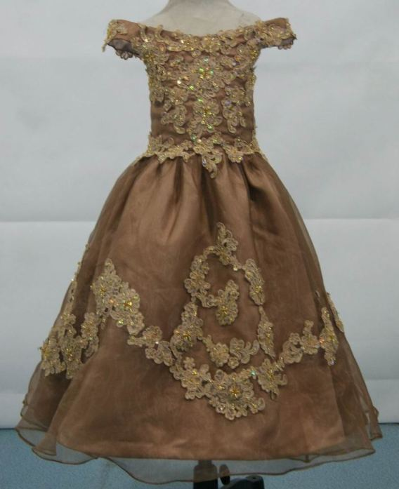 brown pink pageant gown