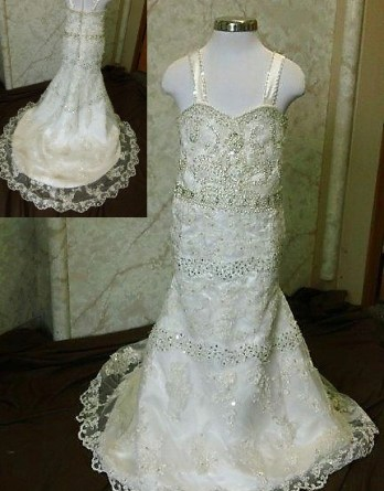 lace beaded flower girl dress