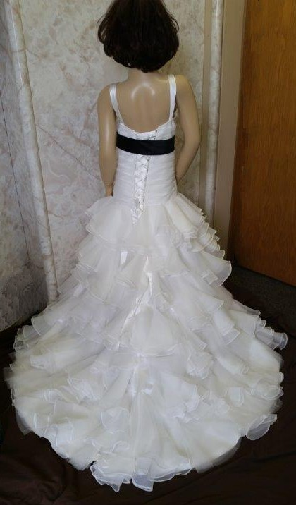 ruffle train mermaid dress